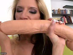 Guy can hardly resist hot blonde Bambi playing with her massive tits