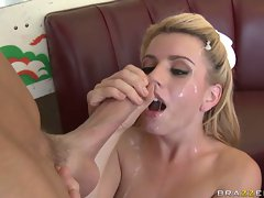 Lexi Belle hot submissive babe gets her face covered in hot cum