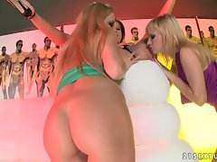 Gilda Roberts gets busy licking Anita Pearl and Abbie Cat's pussy's