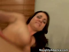 A massive dick drills Holly Wests pussy from behind and she enjoys