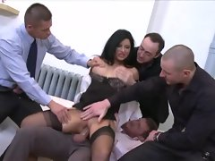Anna Polina in office gangbang