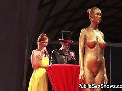 Hot girls pose nude at strip show