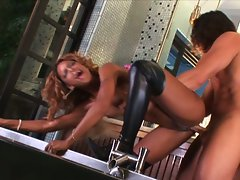 Ebony goddess Marie Luv cooks up a storm in the kitchen with her pussy
