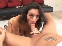 Persia Monir titty fucks and blows a nice round cock and balls