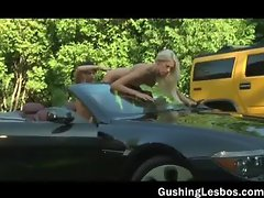 Outdoor hardcore lesbo dildo fucking 4by part5