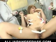 She gets tied up to a gyno chair and a set of dirty doctors
