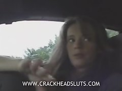 Insane crackhead public blowjob in a car