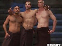 Three hot guys getting interviewed part6