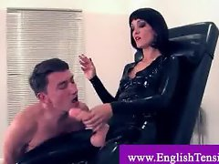 Smoking domina fucks slaves mouth