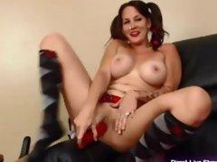 Amateur milf Jenny in schoolgirl outfit masturbates