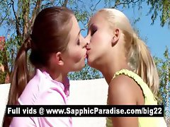 Gorgeous brunette and blonde lesbians kissing and having lesbian sex