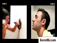 Straight dude gets unexpected gay BJ at a gloryhole