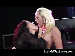 Two lesbian girls give a live show