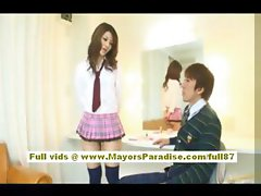 Risa Tsukino Asian doll in waitress uniform enjoys sucking huge cock
