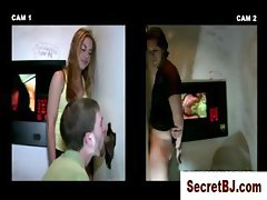 Dumb straight guy fooled into gay blowjob by gloryhole girl