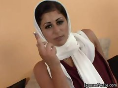 Horny Arab girl in a white scarf gets part6