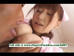Akina miyase busty asian babe in bed gets a blowjob