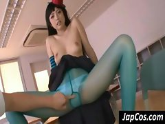 Naughty young Asian gal wears green pantyhose and gets her nipples teased