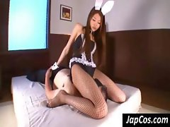 Bunny costume wearing Japanese slutty tramp gets it on with an older man