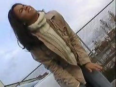 Pissing: Alexa pees her tight jeans outside