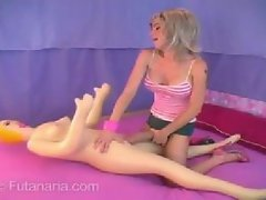 Blonde boning a Blowup doll