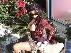 Satin - mature in satin an pantyhose outdoor