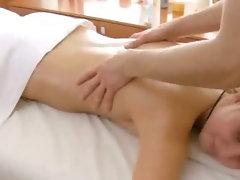 Foxy petite blonde hottie getting a steamy massage