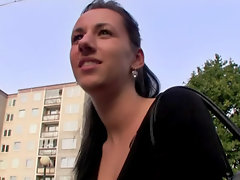 Shy brunette chick flashes her ass and gets fucked in public for cash
