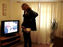 tv in thigh boots, pvc having a wank