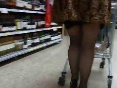 Mini skirt sexy heels and black stockings