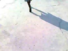 Babe walking in black stockings