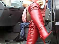 Sexy red boots and fishnet