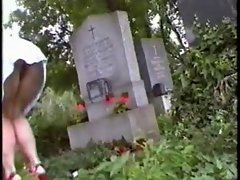 Upskirt at cemetery