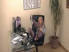Secretary Natasha In Business Suit And Blue Silk Stockings