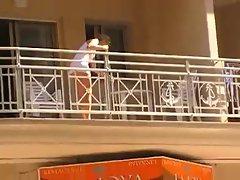 Women cleaning balcony no panties upskirt 1