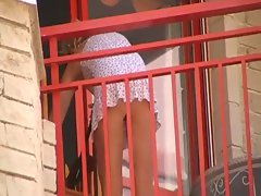 Women cleaning balcony no panties upskirt 2