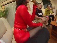 Japanese MILF in Kinky Stocking
