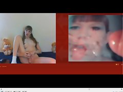 webcamgirl surprised with her own facial 8