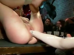 Big breasted business woman gets used in a public bathroom by a bunch of horny black men