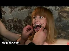 Bound in crotch rope gagged with metal ring babe vibered