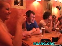 Chicks licking before men