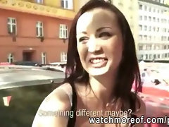 Petite Czech girl next door paid for outdoor fucking action