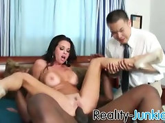 Cuckold watches her wife getting fucked by humongous 10 inch black cock