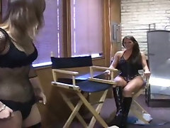 Pornstars prepares for action in backstage