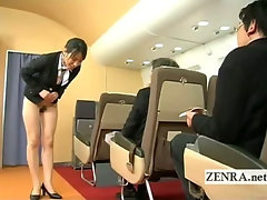 Subtitled bottomless Japan fight attendant bends over