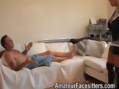Sandie Caine punishes a guy with her pussy by sitting on his face