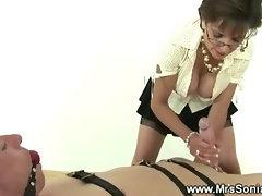 Mistress jerking off servants hard cock