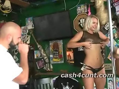Cute blonde lured into playing with a complete stranger for a pile of cash