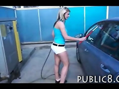 Extremly hot carwash blonde fucked in public for cash