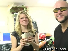 Blonde Sucks Dick In Scooter Store During Money Talks Stunt